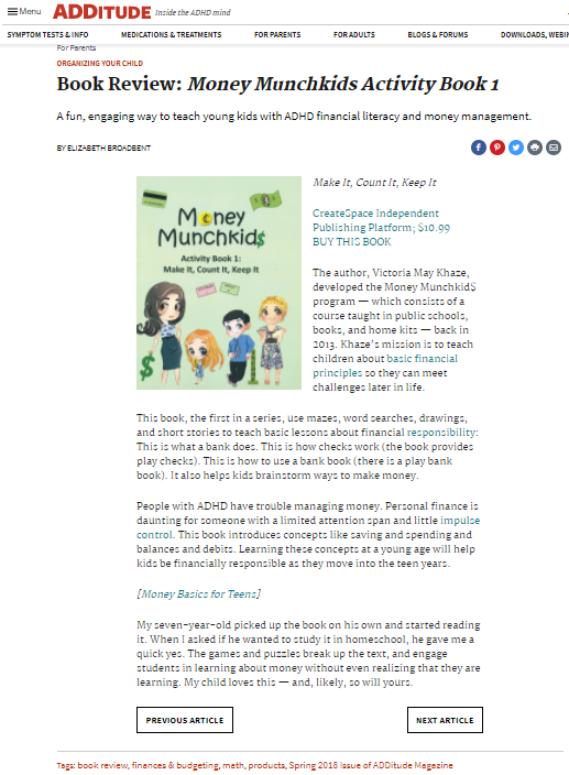 ADDitude kids money product review