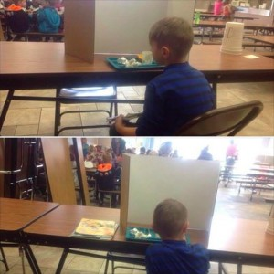 Kids punished with cardboard at lunch