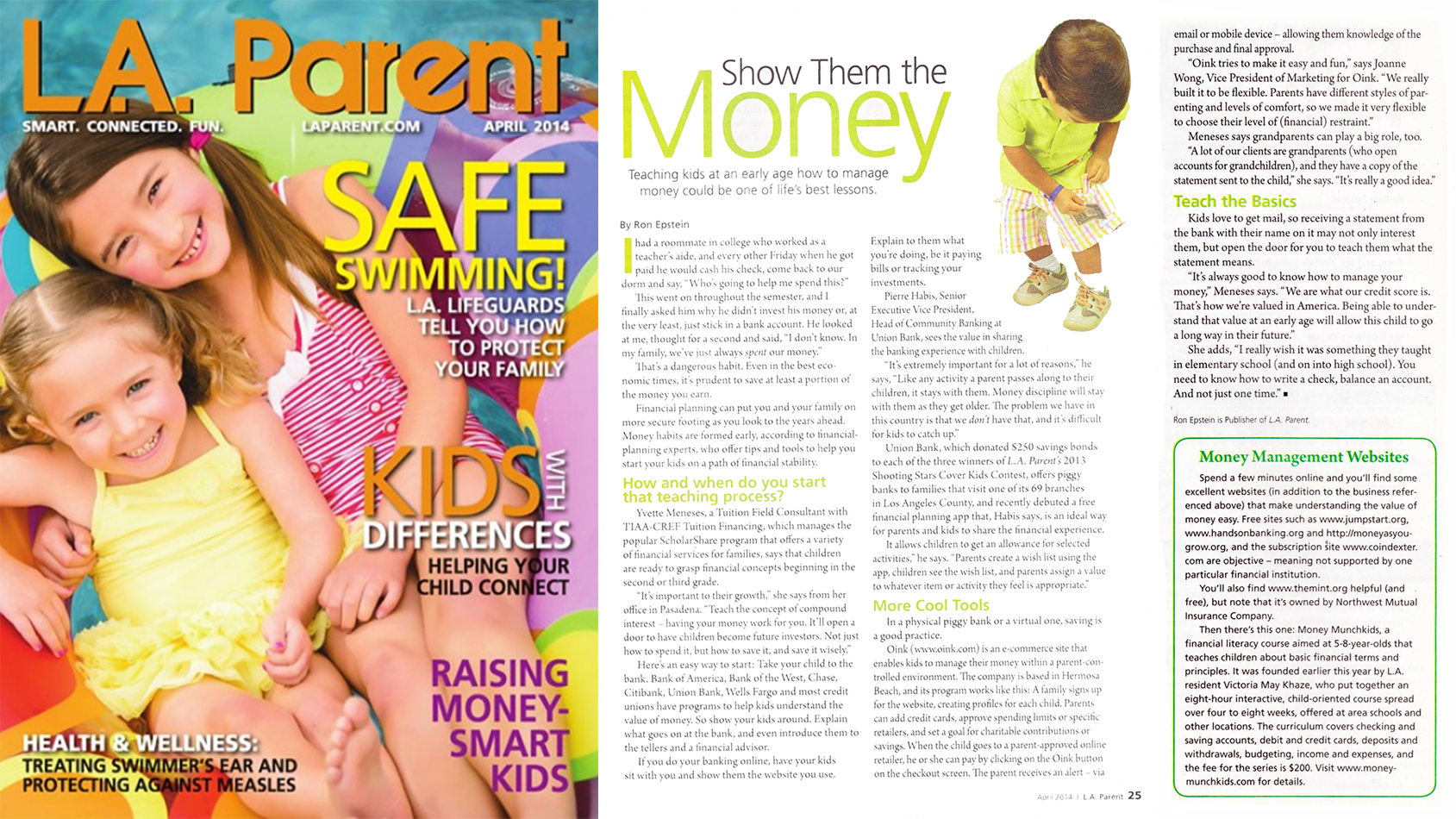 money munchkids in LA parent magazine April financial education month issue
